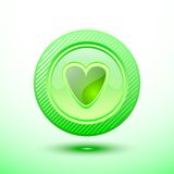 Green button heart Stock Photos