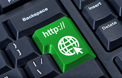Green button with icon globe. Royalty Free Stock Photos