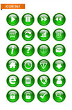 Green button icon set Stock Images