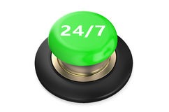 24/7 Green button. Isolated on white background Royalty Free Stock Photography