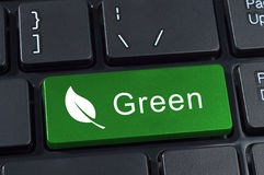 Green button keyboard with icon of leaf. Green button keyboard with icon leaf. Ecology and environment concept Stock Photo