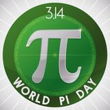 Pi Symbol inside Round Button for World Pi Day Celebration, Vector Illustration. Green button with pi symbol and a part of the numeric value around it to vector illustration