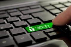 Green button security Stock Photos