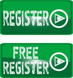 Green Button Sign Free Register Stock Images