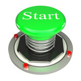 Green button, start, 3d concept isolated. On white background Royalty Free Stock Photos