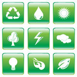 Green Buttons with Environmental Conservation Symbol Royalty Free Stock Photography