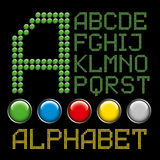 Green buttons letters alphabet. Vector green buttons letters isolated on black background Stock Photos