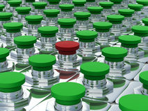 Green buttons and one red. Stock Photo