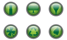 Green Buttons Round Stock Image