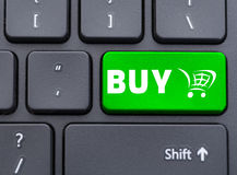 Green buy with shopping cart symbol button Stock Image