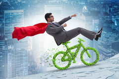 The green bycycle in environmentally friendly transportation concept Royalty Free Stock Photo