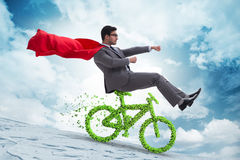 The green bycycle in environmentally friendly transportation concept Royalty Free Stock Photography