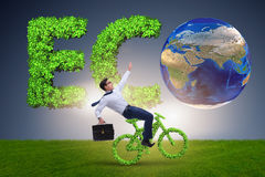 The green bycycle in environmentally friendly transportation concept. Green bycycle in environmentally friendly transportation concept Stock Image