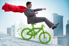 The green bycycle in environmentally friendly transportation concept Royalty Free Stock Image