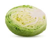 Green cabbage cut in half. Isolated on white background. Clipping Path. Full depth of field royalty free stock image