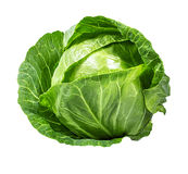 Green cabbage isolated on white Royalty Free Stock Photo