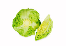 Green cabbage isolated on white background. Cut cabbage on white background. Green cabbage isolated on white background. Healthy food. Rich in vitamins and Stock Photography