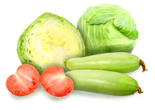 Green cabbage, marrow and red tomatos Royalty Free Stock Image