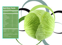 Green cabbage nutrition facts Royalty Free Stock Photos