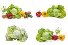 Green cabbage. Red and yellow pepper. Composition of yellow and red peppers and cabbage on a white background stock photo