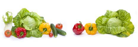 Green cabbage. Red and yellow pepper. Stock Photos