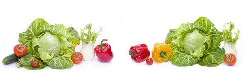 Green cabbage. Red and yellow pepper. Red tomatoes. Composition Royalty Free Stock Images
