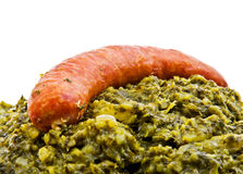 Green cabbage with sausage Royalty Free Stock Photo