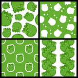 Green Cabbage Seamless Patterns Set Stock Images
