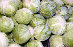 Green cabbages on display at the farmer's market Royalty Free Stock Photography