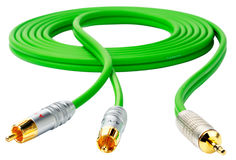Green cable on white Royalty Free Stock Photos