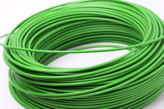 Green cable on white background Stock Photos