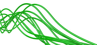 Green cables. Bright metallic fibre-optical green cables on a white background Stock Photography