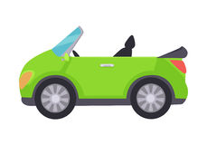 Green Cabriolet Icon Isolated on White Background. Stock Images