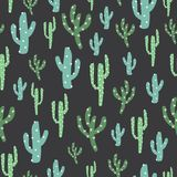 Green cactus in dark background stock illustration