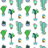 Green cactus  seamless pattern on white background. Green plants pattern tile. Cacti flowerpot pattern for textile or wrapping paper. Trendy hipster cactus Royalty Free Stock Image