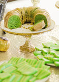 Green cake party table Royalty Free Stock Photo