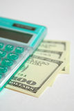 Green Calculator With Dollars 2 Stock Photos
