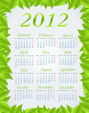 Green calendar 2012. (week starts on Monday Stock Illustration