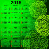 Green calendar for 2015. Trendy abstract green background with balls and calendar for 2015 (vector eps 10 stock illustration