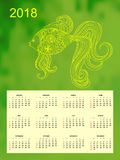 Green calendar year 2018 patterned goldfish. Business english calendar for wall on year 2018 on the gradient background with hand drawn patterned goldfish. Week Royalty Free Stock Photography