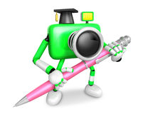 Green Camera Character ballpoint pen a handwriting. Create 3D Ca Royalty Free Stock Photo