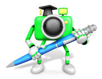 Green Camera Character ballpoint pen a handwriting. Create 3D Ca Royalty Free Stock Images
