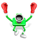 Green Camera Character Boxer Victory the serenade. Create 3D Cam Stock Images