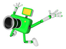 The Green Camera Character in Dynamic photos of the jump shot ca Royalty Free Stock Images