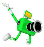 The Green Camera Character in Dynamic photos of the jump shot ca Stock Images