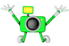 The Green Camera Character in Dynamic photos of the jump shot ca Stock Image