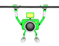 Green Camera character is hanging in horizontal bar. Create 3D C Royalty Free Stock Photography
