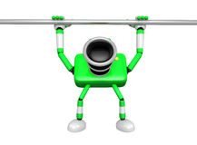 Green Camera character is hanging in horizontal bar. Create 3D C Royalty Free Stock Image