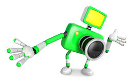 Green camera Character Kindly guide. Create 3D Camera Robot Seri Stock Photo