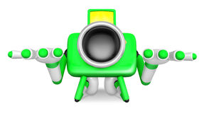 Green Camera Character kneel in prayer. Create 3D Camera Robot S Stock Images